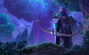 Picture forest, girl, elf, Warcraft III: Reforged