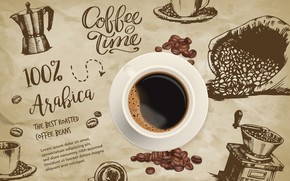 Picture labels, coffee, Cup, coffee beans