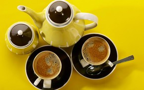 Picture coffee, Cup, drink, sugar bowl, coffee pot