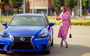 Picture auto, pose, smile, style, photo, Lexus, shoes, beauty, cloak, Natalia, Tatiana GUZ