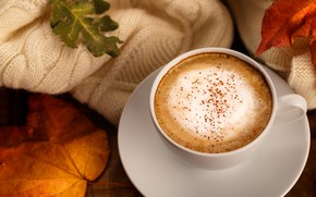 Picture autumn, leaves, background, colorful, scarf, wood, background, autumn, leaves, cup, coffee, autumn, a Cup of ...
