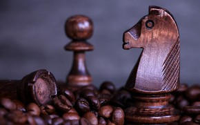 Picture horse, coffee, chess, pawn, chess, coffee, coffee bean, wooden chess set