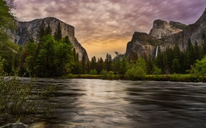 Picture forest, summer, the sky, clouds, trees, mountains, river, rocks, shore, for, tops, Bush, waterfall, the …