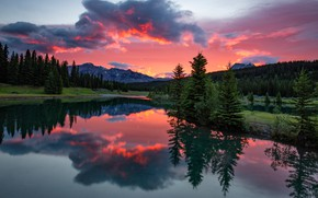Picture forest, the sky, clouds, sunset, mountains, reflection, rocks, shore, the slopes, view, the evening, ate, …