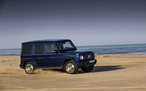 Picture beach, blue, Mercedes-Benz, SUV, pond, 4x4, 2018, G-Class, G 500, V8