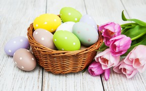 Picture flowers, eggs, colorful, Easter, tulips, happy, wood, pink, flowers, tulips, Easter, purple, eggs, decoration, basket