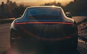 Picture Sunset, Auto, Black, 911, Porsche, Machine, Blik, Carrera, Rear view, Porsche 911 Carrera S, Transport …