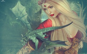 Picture girl, dragon, blonde