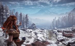 Picture mountains, gesture, postapokalipsis, exclusive, winter landscape, Playstation 4, Guerrilla Games, Horizon Zero Dawn, Eloy