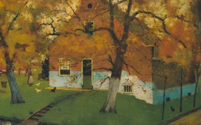 Picture landscape, oil, picture, canvas, 1899, Johann Eduard Carsen, Eduard Karsen, North Holland. Farm