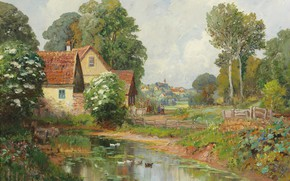 Picture Alois Arnegger, Austrian painter, Austrian painter, oil on canvas, Alois Arnegger, Landscape with village in …