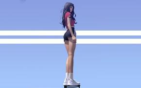 Picture Girl, shorts, long hair, legs, anime, brunette, artwork, t-shirt, black hair, socks, sneakers, wavy hair, …