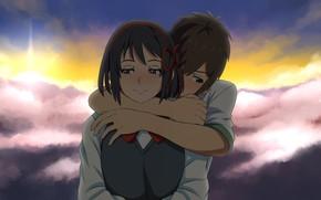 Picture sunset, romance, anime, art, two, hugs, Kimi no VA On, Your name