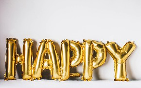 Picture happiness, letters, balls, happy, gold, inflatable