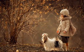 Picture autumn, branches, nature, animal, Bush, dog, girl, child, dog, Svetlana Shelemeteva