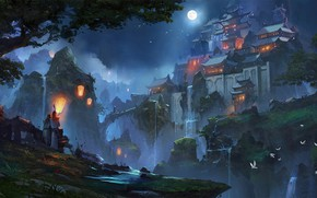 Picture Night, Figure, The moon, Palace, Castle, Asia, Fiction, Concept Art, Zudarts Lee, Environments, by Zudarts …