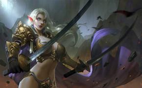 Picture girl, fantasy, cleavage, armor, blue eyes, weapons, blonde, artwork, warrior, swords, fantasy art, Elf, fantasy ...