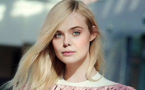 Picture look, girl, face, hair, actress, blonde, Elle Fanning