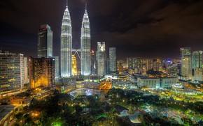 Picture landscape, night, lights, Park, Malaysia, Kuala Lumpur