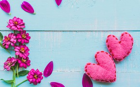 Picture love, flowers, heart, love, wood, pink, flowers, romantic, hearts, valentine