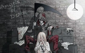Picture light, girl, wall, fantasy, bricks, anime, boy, couple, artwork, couch, angel of death, hood, bandages, …