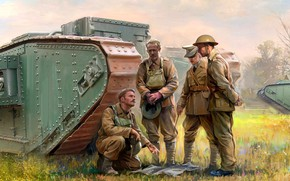 Picture Tank, heavy tank, British Army, Tankers, Mark I, The first World war