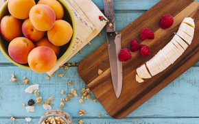 Picture berries, Breakfast, banana, cutting Board, granola