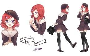 Picture smile, glasses, schoolgirl, bag, barrette, red hair, black stockings, sailor, Love Live! School Idol Project, …
