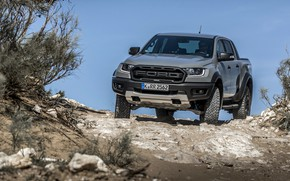 Picture grey, Ford, the roads, Raptor, pickup, Ranger, 2019