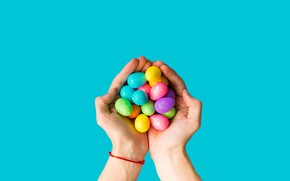 Picture eggs, hands, candy, palm