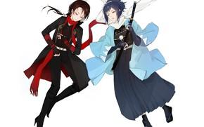 Picture white background, two, samurai, Touken Ranbu, Dance of swords