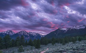 Picture the sky, clouds, snow, trees, sunset, mountains, clouds, nature, Colorado, USA, path, Twin Lakes
