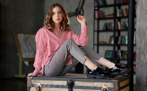 Picture look, girl, pose, hand, portrait, chest, pants