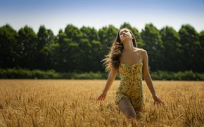 Picture wheat, field, summer, girl, nature, hair