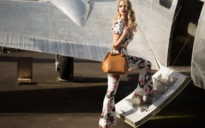 Picture girl, pose, the plane, hair, blonde, costume, bag, beauty, Kyle Cong