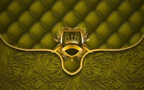 Picture green, retro, background, gold, texture, ornament, vintage