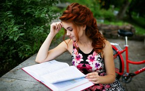 Picture girl, nature, pose, Park, hairstyle, book, red, Tomasev Sergey