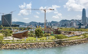 Picture shore, construction, Playground, pond, West Kowloon Pavilion - Hong Kong