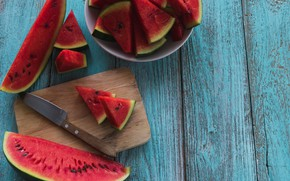 Picture Watermelon, knife, Background, Board, slices