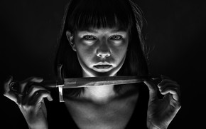 Picture portrait, knife, girl