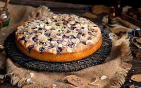 Picture cherry, pie, cakes, almonds