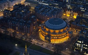 Picture night, lights, England, London, panorama, concert hall, Albert hall