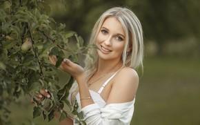 Picture look, girl, branches, face, smile, mood, Apple, Apple, bokeh, Julia, Apollinarius Barinova