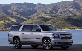 Picture grey, Chevrolet, side view, SUV, Suburban, 2019