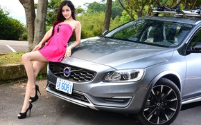 Picture auto, look, Girls, Asian, beautiful girl, Volvo V60, posing on the car
