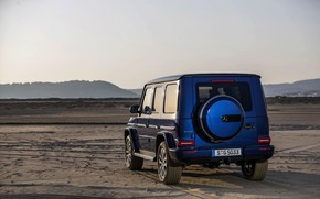 Picture sand, blue, traces, Mercedes-Benz, SUV, 4x4, 2018, G-Class, G 500, V8