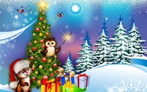 Picture owl, tree, protein, gifts, New year