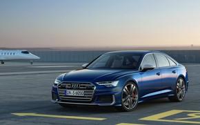 Picture blue, Audi, airport, sedan, Audi A6, 2019, Audi S6