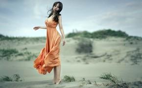 Picture summer, girl, dunes