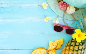 Picture fruit, summer, pineapple, wood, slices, fruit, pineapple, plumeria, plumeria, slice
